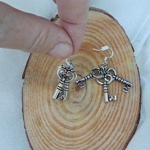 Fairy Tale Jewelry Jewelry - Fairy Key Trio - dangle earrings - silver